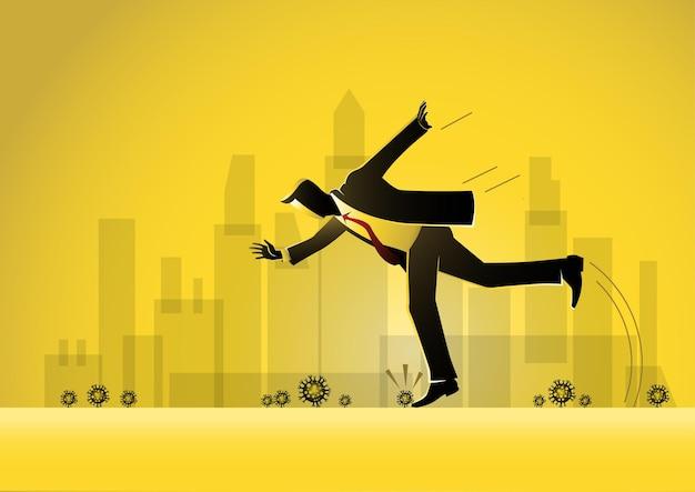 Empresário, caindo, tropeçar, viagem, sobre, pedra, around corona virus, ilustração stock