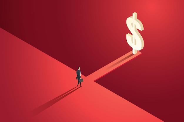 Empresário caminha até uma ponte de madeira na beira de um penhasco com dinheiro