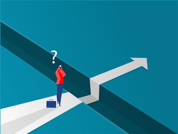 Empresário caminhando em direção ao vetor de sucesso