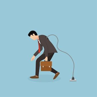 Empresário cansado caminhando. recarregue a energia para o exausto funcionário de escritório cansado, atualize-se do conceito de sobrecarga ou esgotamento