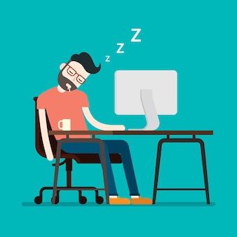 Empresário cansado dormindo em sua mesa de trabalho