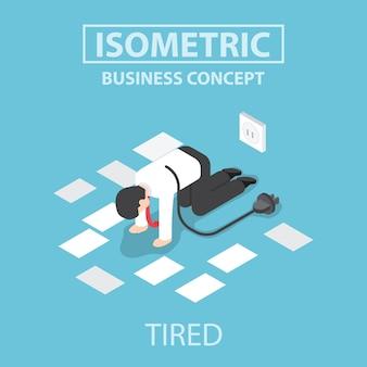 Empresário cansado isométrico desligue e pare de trabalhar