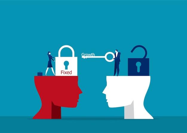 Empresário carrega grande chave para desbloquear o conceito de mentalidade de crescimento de ideia.