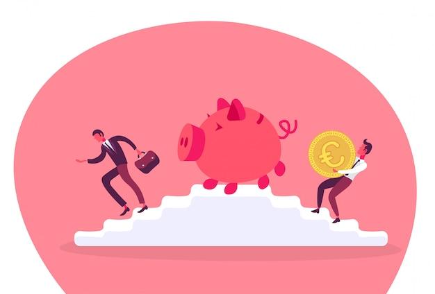 Empresário carregando cofrinho de moedas de euro