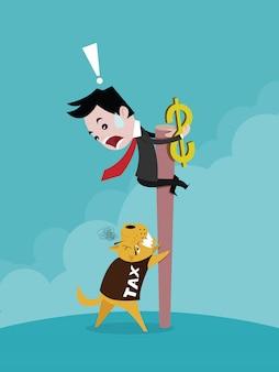 Empresário, carregando o dólar e subir em um poste de madeira o cão no imposto de camisa, desenho vetorial