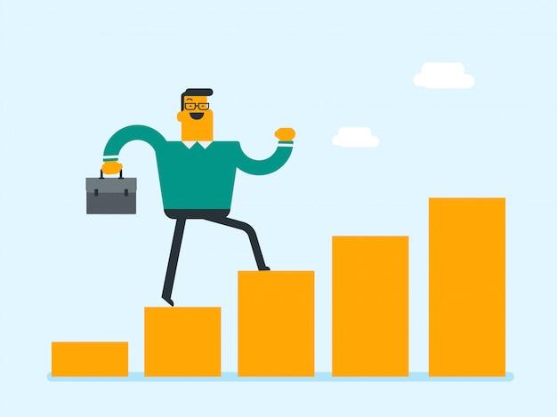 Empresário caucasiano correndo no gráfico de barras de lucro.