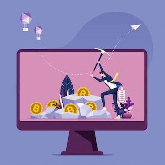 Empresário cavando bitcoin na rocha