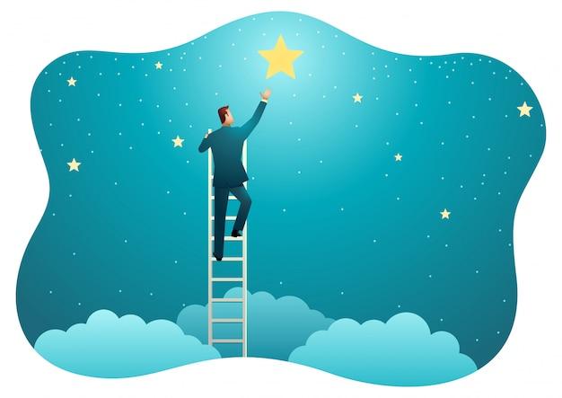 Empresário chegar para as estrelas