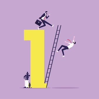 Empresário chutando para fazer seu rival cair da escada do sucesso