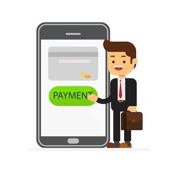 Empresário clica no botão do telefone pagar