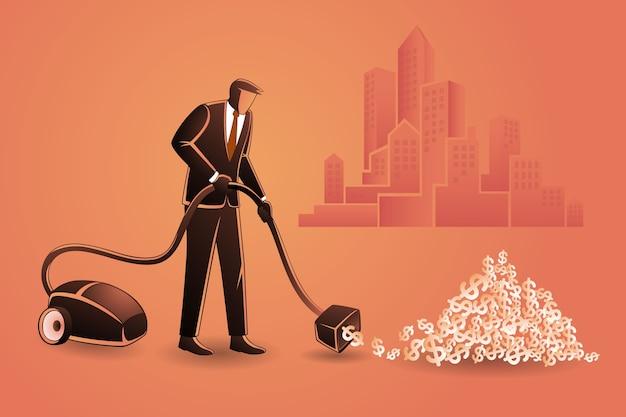 Empresário coleta dinheiro usando aspirador de pó no fundo de edifícios