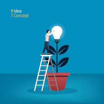 Empresário colhendo lâmpada do conceito de árvore. ilustração de nova ideia e criatividade