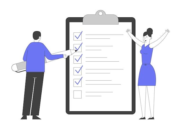 Empresário coloca marcas em caixas de seleção, lista de verificação de preenchimento na enorme área de transferência