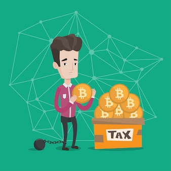 Empresário, colocando a moeda bitcoin na caixa de impostos.
