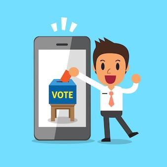 Empresário colocando papel de voto no smartphone