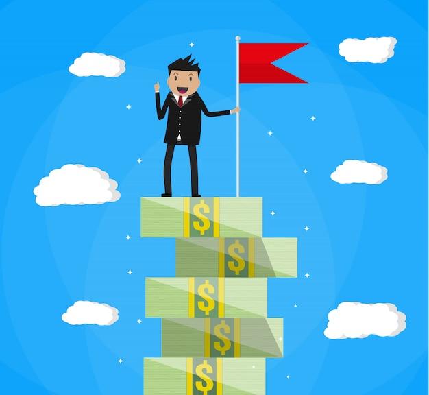 Empresário com bandeira em pé na escada de dinheiro
