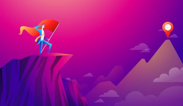 Empresário com bandeira em um pico de montanha, sucesso e missão, alvo de negócios e vitória e motivação, vencedor no topo e ansioso para a próxima missão.