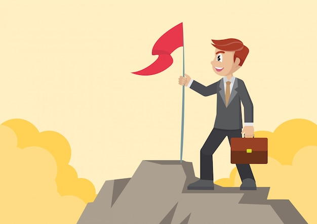 Empresário com bandeira na montanha.