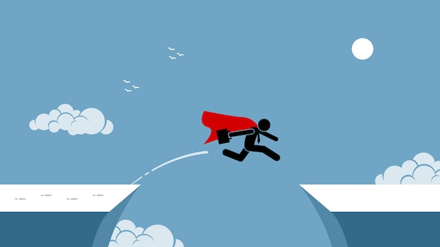 Empresário com capa vermelha correndo risco ao saltar sobre um abismo.