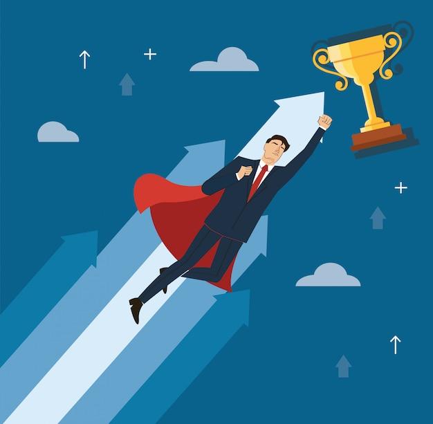 Empresário com capa vermelha para o vetor de sucesso