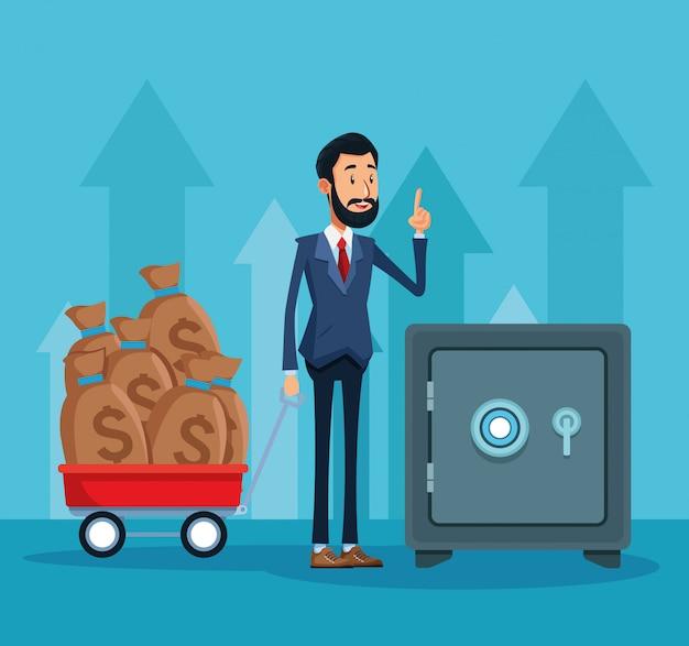 Empresário com carrinho com sacos de dinheiro e caixa forte sobre azul