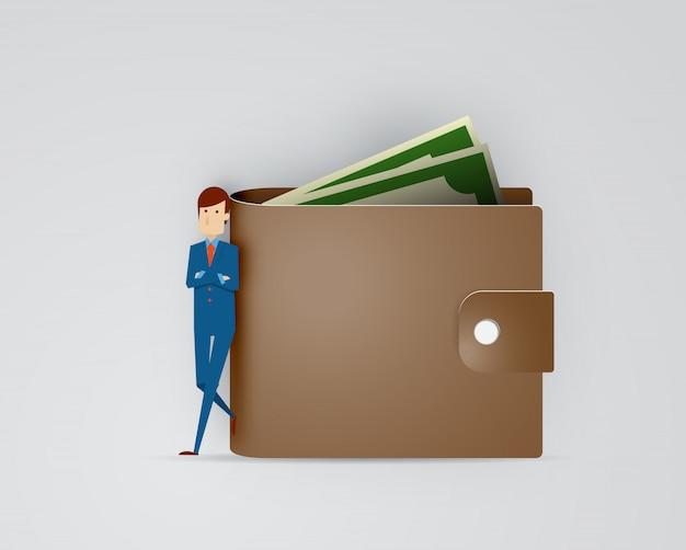 Empresário com carteira e dinheiro papel arte ilustração vector