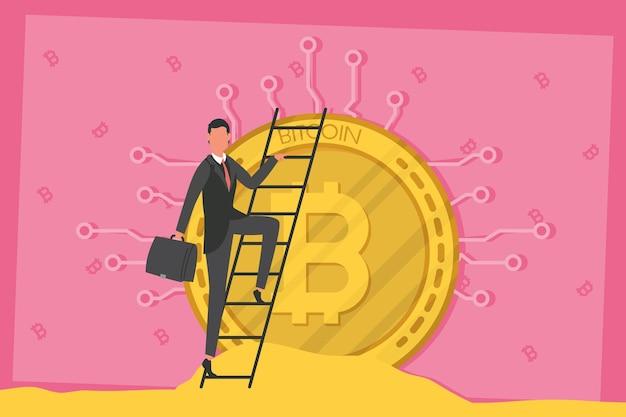 Empresário com carteira subindo escada em ilustração de bitcoin