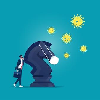 Empresário com cavaleiro de xadrez para lutar contra o patógeno do coronavírus