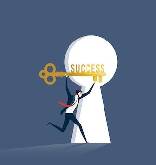 Empresário com chave de sucesso. vetor de conceito de negócio