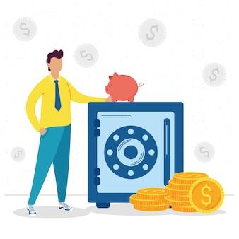 Empresário com cofre de dinheiro