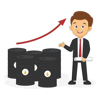 Empresário com conceito de comércio de petróleo