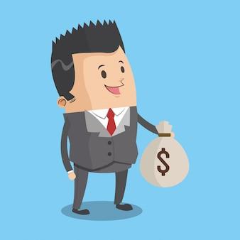 Empresário com desenhos animados de saco de dinheiro