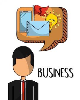 Empresário com dinheiro de correio móvel no chat de bolha