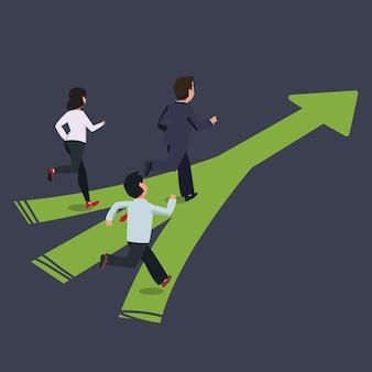 Empresário com equipe correndo para o mesmo caminho. conceito de concorrência de liderança, ilustração