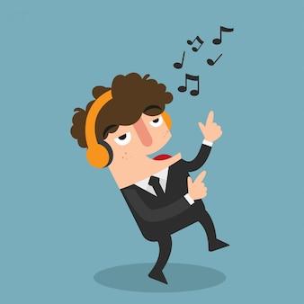 Empresário com fones de ouvido, dançando e ouvindo, vetor