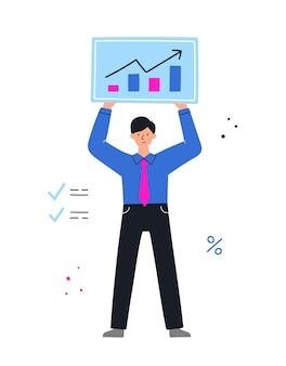 Empresário com gráfico. gerente mostrando o sucesso. conceito de análise de negócios. ilustração.
