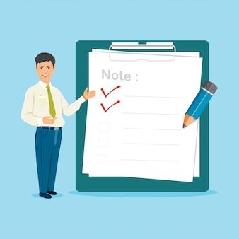 Empresário com grande área de transferência e ilustração vetorial de lista de verificação