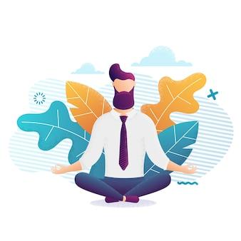 Empresário com gravata, sentado em posição de lótus com os olhos fechados, praticando yoga.zen no trabalho