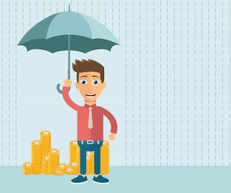 Empresário com guarda-chuva como proteção para seu investimento