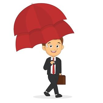 Empresário com guarda-chuva duplo