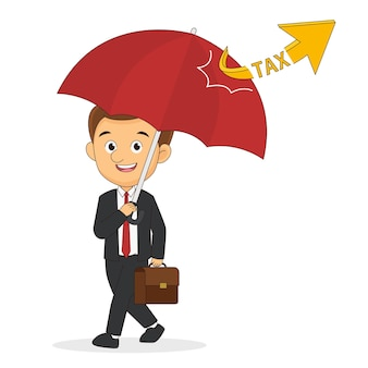 Empresário com guarda-chuva protege de impostos