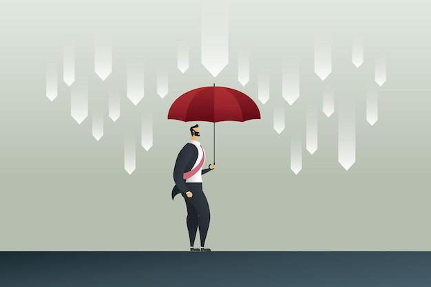 Empresário com guarda-chuva vermelho protegendo a chuva de flechas em crise econômica
