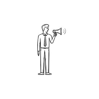Empresário com ícone de esboço desenhado à mão em megafone