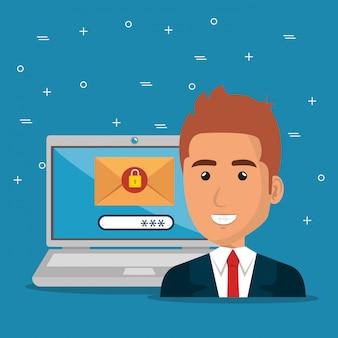 Empresário com ícones de marketing de e-mail