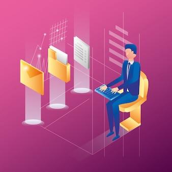 Empresário com ícones de rede do centro de dados