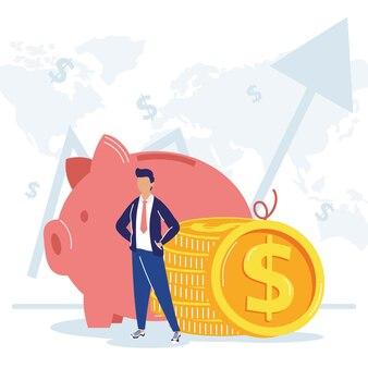 Empresário com ícones financeiros