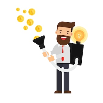 Empresário com ideia para ganhar dinheiro