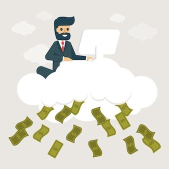 Empresário com ilustração de negócios online.