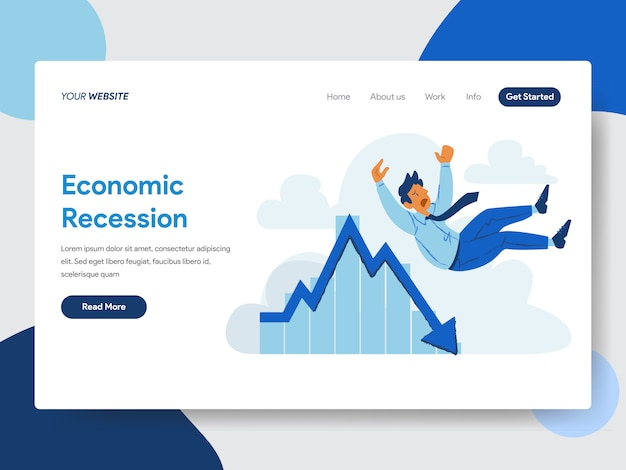 Empresário com ilustração de recessão económica