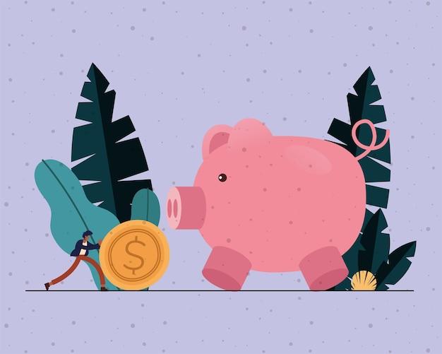 Empresário com ilustração do tema moeda e porquinho, negócios e gestão